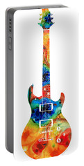Colorful Electric Guitar 2 - Abstract Art By Sharon Cummings Portable Battery Charger by Sharon Cummings