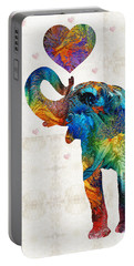 Colorful Elephant Art - Elovephant - By Sharon Cummings Portable Battery Charger by Sharon Cummings