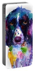 Colorful English Springer Setter Spaniel Dog Portrait Art Portable Battery Charger by Svetlana Novikova