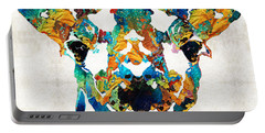 Colorful Giraffe Art - Curious - By Sharon Cummings Portable Battery Charger by Sharon Cummings