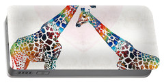 Colorful Giraffe Art - I've Got Your Back - By Sharon Cummings Portable Battery Charger by Sharon Cummings