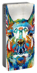 Colorful Llama Art - The Prince - By Sharon Cummings Portable Battery Charger by Sharon Cummings