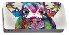Colorful Pig Art - Squeal Appeal - By Sharon Cummings Portable Battery Charger by Sharon Cummings