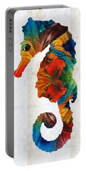 Colorful Seahorse Art By Sharon Cummings Portable Battery Charger by Sharon Cummings