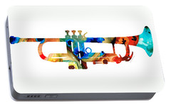 Colorful Trumpet Art By Sharon Cummings Portable Battery Charger by Sharon Cummings