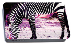 Colorful Zebra 2 - Buy Black And White Stripes Art Portable Battery Charger by Sharon Cummings