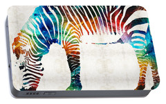 Colorful Zebra Art By Sharon Cummings Portable Battery Charger by Sharon Cummings