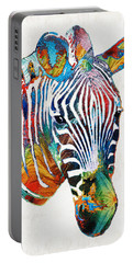 Colorful Zebra Face By Sharon Cummings Portable Battery Charger by Sharon Cummings