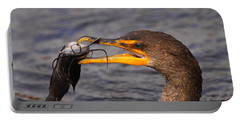 Cormorant Catching Catfish Portable Battery Charger by Bruce J Robinson