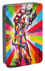 Couple Kissing In Times Square On V-j Day Portable Battery Charger by Rona Black