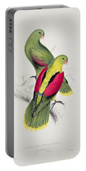 Crimson Winged Parakeet Portable Battery Charger by Edward Lear