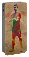 Cristiano Ronaldo Soccer Football Player Portugal Real Madrid Watercolor Painting On Worn Canvas Portable Battery Charger by Design Turnpike