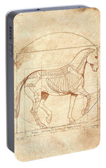 da Vinci Horse in Piaffe Portable Battery Charger by Catherine Twomey