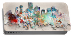 Dallas Painted City Skyline Portable Battery Charger by World Art Prints And Designs