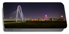 Dallas Skyline And Margaret Hunt Hill Bridge Portable Battery Charger by David Morefield
