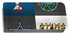 Dallas Sports Fan Recycled Vintage Texas License Plate Art Rangers Mavericks Cowboys Stars Portable Battery Charger by Design Turnpike