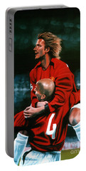 David Beckham And Juan Sebastian Veron Portable Battery Charger by Paul Meijering