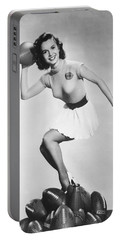 Debbie Reynolds Throws A Pass Portable Battery Charger by Underwood Archives