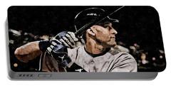 Derek Jeter On Canvas Portable Battery Charger by Florian Rodarte