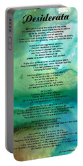 Desiderata 2 - Words Of Wisdom Portable Battery Charger by Sharon Cummings