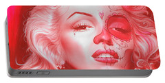 Marilyn Monroe - ' Dia De Los Monroe ' Portable Battery Charger by Christian Chapman Art