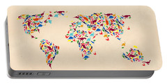 Dinosaur Map Of The World  Portable Battery Charger by Mark Ashkenazi