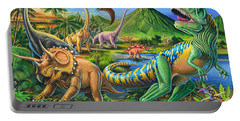 Dinosaur Scene Portable Battery Charger by Mark Gregory
