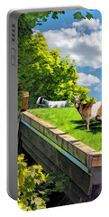 Door County Al Johnsons Swedish Restaurant Goats Portable Battery Charger by Christopher Arndt