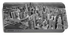 Downtown Chicago Aerial Black And White Portable Battery Charger by Adam Romanowicz