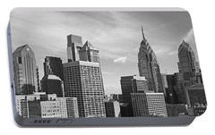 Downtown Philadelphia Portable Battery Charger by Rona Black