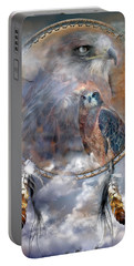 Dream Catcher - Hawk Spirit Portable Battery Charger by Carol Cavalaris