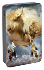 Dream Catcher - Spirit Of The White Buffalo Portable Battery Charger by Carol Cavalaris