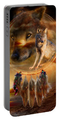 Dream Catcher - Wolfland Portable Battery Charger by Carol Cavalaris
