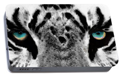 Dressed To Kill - White Tiger Art By Sharon Cummings Portable Battery Charger by Sharon Cummings