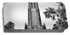 Duke Chapel In Black And White Portable Battery Charger by Emily Kay