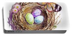Easter Colors Bird Nest Portable Battery Charger by Irina Sztukowski
