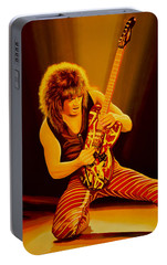 Eddie Van Halen Painting Portable Battery Charger by Paul Meijering