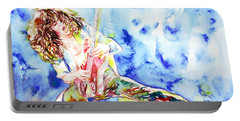 Eddie Van Halen Playing The Guitar.1 Watercolor Portrait Portable Battery Charger by Fabrizio Cassetta