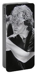 Eddie Vedder Black And White Portable Battery Charger by Joshua Morton
