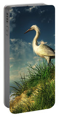 Egret In The Dunes Portable Battery Charger by Daniel Eskridge