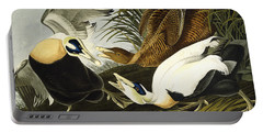 Eider Ducks Portable Battery Charger by John James Audubon