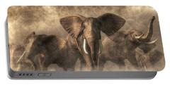 Elephant Stampede Portable Battery Charger by Daniel Eskridge