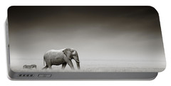 Elephant With Zebra Portable Battery Charger by Johan Swanepoel