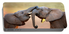 Elephants Touching Each Other Portable Battery Charger by Johan Swanepoel