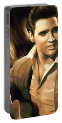 Elvis Presley Artwork Portable Battery Charger by Sheraz A
