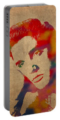 Elvis Presley Watercolor Portrait On Worn Distressed Canvas Portable Battery Charger by Design Turnpike