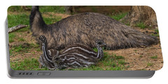 Emu And Chicks Portable Battery Charger by Chris Flees