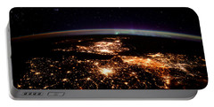 Portable Battery Charger featuring the photograph Europe At Night, Satellite View by Science Source