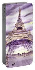 Evening In Paris A Walk To The Eiffel Tower Portable Battery Charger by Irina Sztukowski