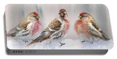Snowy Birds - Eyeing The Feeder 2 Alaskan Redpolls In Winter Scene Portable Battery Charger by Karen Whitworth